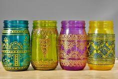 Satz von 4 marokkanischen Stil Einmachglas Laternen