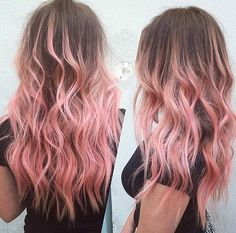 brown hair with pastel pink ombre highlights                                                                                                                                                                                 More