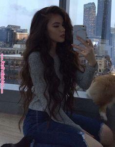 Vivian - Tattoo For Women Ideas - Dream Garden - Sweety Home Decor - Dark Hair Styles - Jewelry Organizer DIY Beautiful Long Hair, Gorgeous Hair, Pretty Hairstyles, Straight Hairstyles, Fast Hairstyles, Waist Length Hair, Long Dark Hair, Dream Hair, Brunette Hair