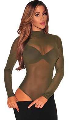 613a70aace Vision Quest Olive Green Long Sleeve Sheer Mesh Mock Neck Bodysuit  Jumpsuits For Women