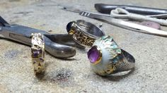 Butterflies sterling silver  rings decorated with enamel and semiprecious stones