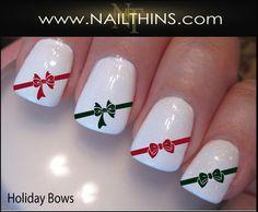 Holiday Bows Nail Decal Christmas Bow nail design Nail Art by NAILTHIN | NAILTHINS