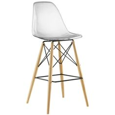 Modway Pyramid Mid-Century Modern Bar Stool with Natural Wood Legs in Clear White Bar Stools, Wood Bar Stools, Modern Bar Stools, Bar Chairs, Counter Stools, Kitchen Stools, Bar Tables, Kitchen Reno, Kitchen Ideas