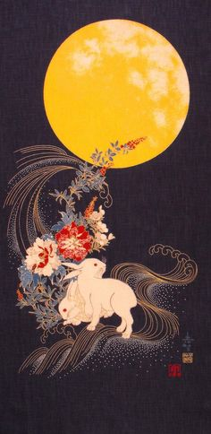 In Japanese folklore, the rabbit (usagi) resides on the moon pounding rice for mochi (rice cake).