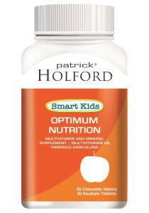 Patrick Holfford Smart Kids Optimum Nutrition. A comprehensive multivitamin and mineral formula that provides a source of essential vitamins and minerals for children in which their daily diet may be deficient. This supplement contains no sugar – it is sweetened with Xylitol, a natural sugar alternative.  Chewable daily multivitamin and mineral supplement. Contains no sugar – sweetened with Xylitol.