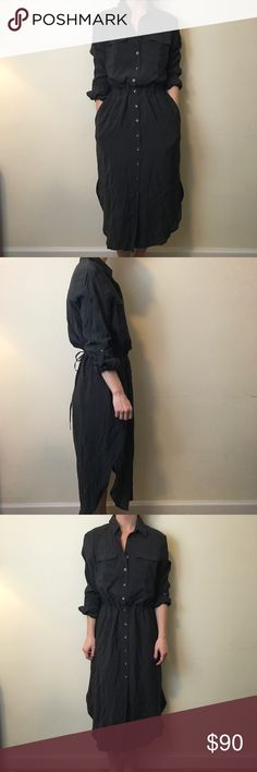 Maeve Anthropologie Charcoal Maxi Shirt Dress Chic and adorable Maeve by Anthro dress with long sleeves that roll and button up and a Button Down center front. Waist tie for cinching and is not lined. Not Sheer and has no apparent flaws. Is a size 8- I am a size 4 so this is big. Can be worn by many sizes - great casual or professional look! Anthropologie Dresses Maxi