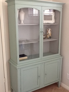 Repurposed china hutch! Painted in Annie Sloans duck egg and Paris grey