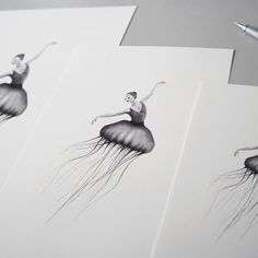 Jelly dancers   Hand drawn illustration made by Sanna Wieslander.  Available as signed art prints and posters in several different sizes at www.sannawieslander.com