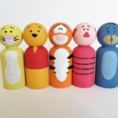 Winnie the Pooh Character Inspired Peg Dolls Peg by ThePaintedPeg