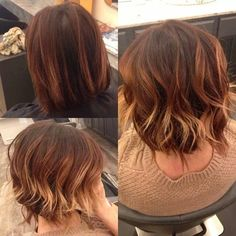balayage hand painted hair caramel hair red ombre copper highlights short hair mandeville, la baton rouge, la