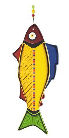 Colourful Fused Glass Hanging Fish Yellow by IlluminatiGlassworks