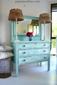 DIY: Distressed Vintage Turquoise Dresser...this is gorgeous...would look great in as an entry way piece