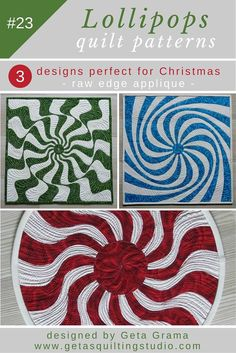 Raw edge applique Christmas quilt patterns - three fast, fun and easy applique designs for Christmas quilts. via @getagrama
