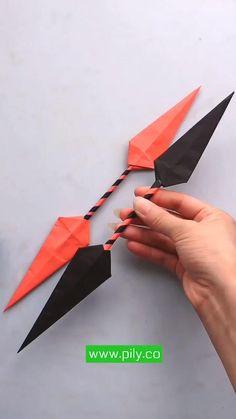 Origami Naruto, Instruções Origami, Origami Knife, Oragami, Cool Paper Crafts, Paper Crafts Origami, Fun Crafts, Diy Crafts Hacks, Diy Crafts Videos
