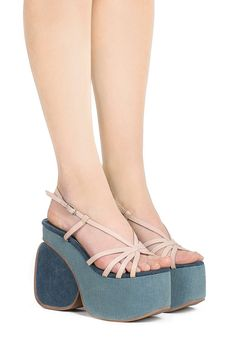 Jeffrey Campbell Shoes GOYA New Arrivals in Natural Denim Combo