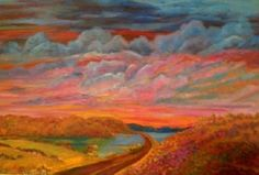 """Qu'appelle Valley Sunset, 24"""" x 36"""", Acrylic on Canvas.  $895."""