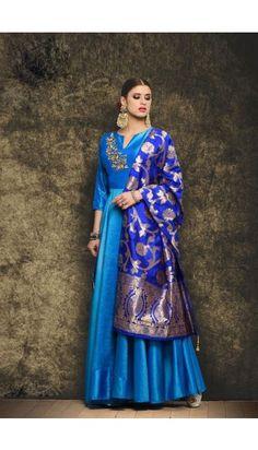 #AndaazFashion - Gorgeous Sky Blue Silk #Anarkali Suit With Dupatta - DMV15050