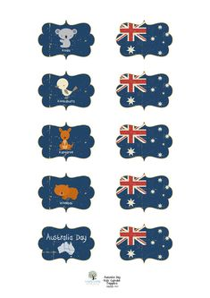 Australia Day 2012 Printables - Lovely Living - Love The Life You're Living Australian Party, Australian Animals, Australian Icons, Australia Crafts, Australia Day, Journal Ideas Smash Book, Library Themes, World Thinking Day, Travel Album