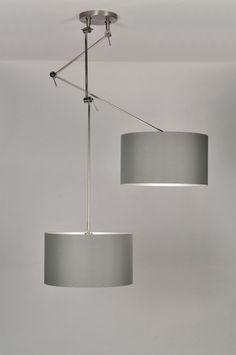 Hanglamp 30110 modern klassiek design grijs stof rond
