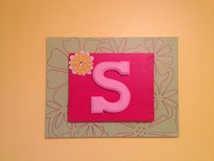 "Letter ""S"" in wood based on double canvas background. Perfect for a little girl's room or even a tween.  Check out my etsy shop at www.etsy.com/LovingCuddles"