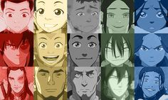 Avatar: The Last Airbender Pictures (or rather, drawings) of the characters throughout their lives. From left to right: Zuko, Aang, Soka, Toph, and Katara