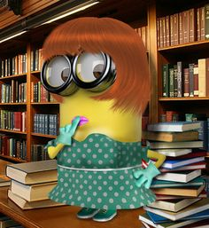 """If you're a minion fan, check out the very cute """"Everyday, Working Minions"""" on Imgur at the click-through. Shown: Librarian Minion"""