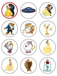 12 or 30 cupcake toppers printed on icing or rice paper with edible ink, with a range of pre-designed images from the Disney Film Beauty and the Beast. We als Beauty And The Beast Crafts, Beauty And The Beast Cupcakes, Beauty And The Beast Party, Beauty And The Best, Belle Beauty And The Beast, Princess Belle Party, Disney Princess Cupcakes, Princess Cupcake Toppers, Cupcake Toppers Free