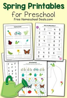 Spring Preschool Worksheets! Beginning Sounds, fill in the missing number, cutting practice, and more!