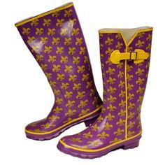 Purple and Gold Fleur-de-Lis Rain Boots