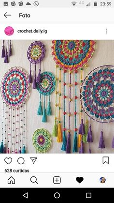 Easy Bohostyle Dream catchers bright color knitted dream catchers handmade wall decor home decor wall hanging dream catcher Doily Dream Catchers, Dream Catcher Craft, Homemade Dream Catchers, Motif Mandala Crochet, Crochet Patterns, Crochet Dreamcatcher Pattern, Mandala Yarn, Dream Catcher Patterns, Crochet Wall Hangings