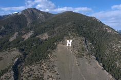 "the ""M"" in Bozeman Montana that me and my dad hiked to! It's hard to breath at that altitude!"