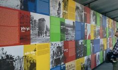 History wall - lots of text on color and image blocks