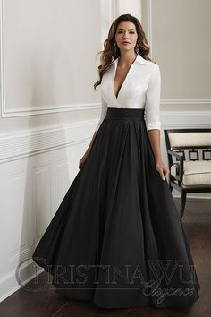 Wu 17921 Plunging Neck Formal Gown This Christina Wu Elegance 17921 ivory black formal dress features a surplice top with a plunging V-neckline, wing collar and three-quarter sleeves with cuffs. A ruched cummerbund gives way to the pleated A-line skirt. Elegant Dresses For Women, Sexy Dresses, Beautiful Dresses, Casual Dresses, Fashion Dresses, Prom Dresses, Wedding Dresses, Summer Dresses, Elegant Formal Dresses