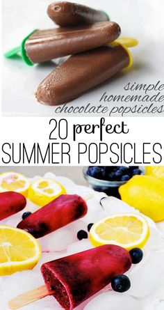 20 perfect summer popsicles Popsicle recipes galore in this fun collection with tons of ideas to keep your freezer filled with tasty treats to beat the summer time heat! Köstliche Desserts, Frozen Desserts, Frozen Treats, Delicious Desserts, Yummy Food, Homemade Popsicles, Jello Popsicles, Watermelon Popsicles, Homemade Recipe