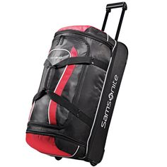 0855c22e5564 Details about Samsonite Drop Bottom Wheeled Duffel 32 Black Red One Size.  Garment BagsBriefcaseLuggage BagsTravel ...