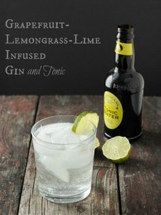 This breath-of-fresh-sunny-air Grapefruit-Lemongrass-Lime infused Gin is bright, refreshing and thirst-quenching. Feels like vacation in a Gin and Tonic. Party Drinks, Cocktail Drinks, Fun Drinks, Yummy Drinks, Cocktail Recipes, Alcoholic Drinks, Beverages, Craft Cocktails, Drink Recipes