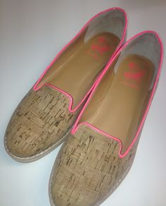 We love the hot pink trim on these Sam Edelman cork loafers.