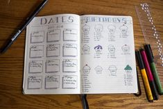 Dates and birthdays bullet journal. Birthday Bullet Journal, Bullet Journal June, Bullet Journal Spread, Bullet Journal Layout, Bullet Journal Inspiration, Bullet Journals, Journal Covers, Journal Pages, Journal Ideas