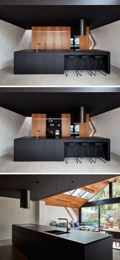 """former """"workers cottage"""" was transformed into an updated livable space This modern kitchen features a black island and ceiling, and wood cabinets.This modern kitchen features a black island and ceiling, and wood cabinets. Black Kitchen Cabinets, Black Kitchens, Wood Cabinets, Cool Kitchens, Kitchen Black, Island Kitchen, Diy Kitchen, Kitchen Time, Kitchen Ideas"""