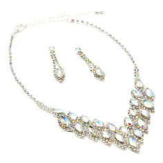 Looking for gift ideas? Get her something she will love! #fashionjewelry #giftgiver #topwholesalejewel Silver Aurora Borealis Long Teardrop Dangle Earrings & 2 Row Teardrop in V-Shape Necklace Jewelry Set