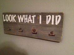 Look what I did. Kids artwork display/child's art display. Vintage. Rustic. https://www.etsy.com/listing/265744416/look-what-i-did-board