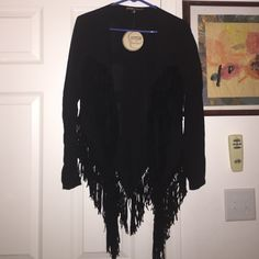 Small med fringe jacket black Black light weight jacket cover up SZ small med tags still attached Gypsies and moondusts  Tops Blouses