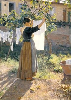 laundry - Elin Kleopatra Danielson-Gambogi (Finnish painter, A Sunny Day Laundry Art, Laundry Lines, Laundry Room, Illustration Art, Illustrations, Art Plastique, Beautiful Paintings, Love Art, Female Art