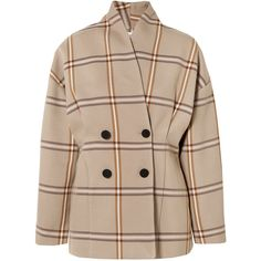 Totême Rione double-breasted checked cotton-blend blazer (€510) ❤ liked on Polyvore featuring outerwear, jackets, blazers, coats, beige, slim blazer, beige jacket, slim fit jackets, slim blazer jacket and checked blazer