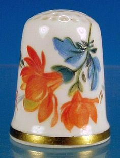 Vintage CAVERSWALL England Porcelain THIMBLE Artist Signed Orange & from abesilvermanantiques on Ruby Lane