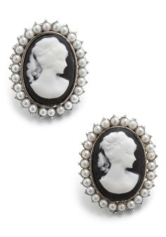 So Glad You Cameo Earrings - Black, White, Pearls, Casual, Vintage Inspired, 20s, 30s, 40s