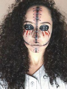 Voodoo Doll Makeup, Creepy Doll Makeup, Scary Makeup, Face Makeup, Creepy Doll Costume, Creepy Halloween Costumes, Voodoo Doll Halloween Costume, Creepy Dolls, Unique Halloween Makeup