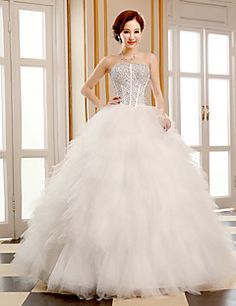 Ball Gown Wedding Dress - Ivory Floor-length Strapless Tulle