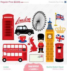 40% OFF SALE London Digital Clipart, England Clipart