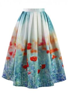 Poppy Flower Print Midi Skirt